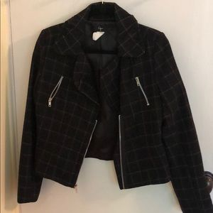 Aqua Plaid Wool Blazer Jacket